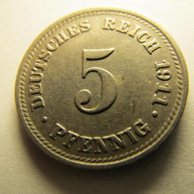 Německo, Kaiser Reich , 5 pfennig z roku 1911 D