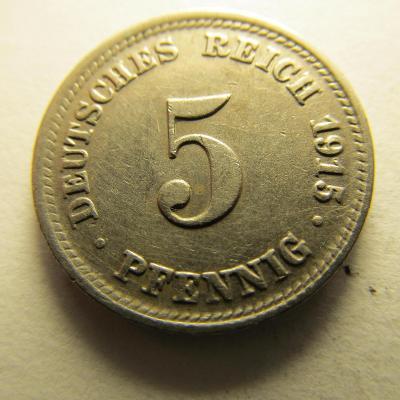 Německo, Kaiser Reich , 5 pfennig z roku 1915 D