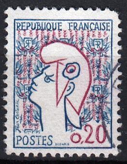 Francie 1961 Mi.1335 razítkovaná, prošla poštou