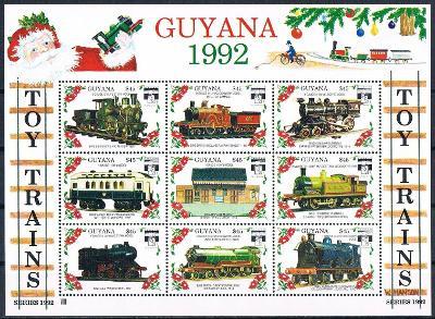 Guyana 1992 Modely lokomotiv a vagónů Mi# 3961-69 2423