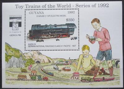 Guyana 1992 Modely lokomotiv a vagónů Mi# Block 211 Kat 9.50€  2423