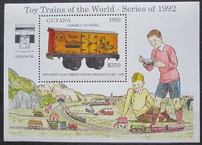 Guyana 1992 Modely lokomotiv a vagónů Mi# Block 213 Kat 9.50€  2423
