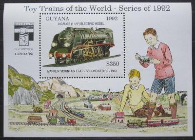 Guyana 1992 Modely lokomotiv a vagónů Mi# Block 214 Kat 9.50€  2423