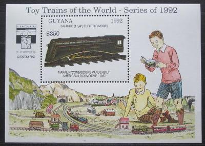 Guyana 1992 Modely lokomotiv a vagónů Mi# Block 215 Kat 9.50€  2423