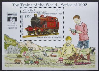 Guyana 1992 Modely lokomotiv a vagónů Mi# Block 216 Kat 9.50€  2423