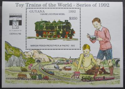 Guyana 1992 Modely lokomotiv a vagónů Mi# Block 212 Kat 9.50€  2423