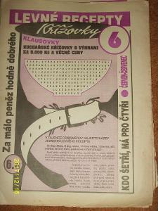 """STARÝ VÝTISK ,,LEVNÉ RECEPTY A KŘÍŽOVKY KLAUSOVKY""""číslo 6 z roku 1994"""