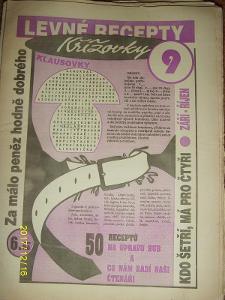 """STARÝ VÝTISK ,,LEVNÉ RECEPTY A KŘÍŽOVKY KLAUSOVKY""""číslo 9 z roku 1994"""