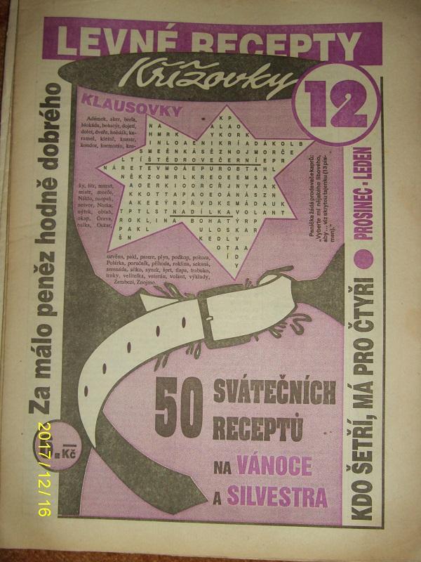 """STARÝ VÝTISK ,,LEVNÉ RECEPTY A KŘÍŽOVKY KLAUSOVKY""""číslo 12 z roku 1994 - Antikvariát"""
