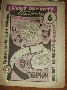 """STARÝ VÝTISK ,,LEVNÉ RECEPTY A KŘÍŽOVKY KLAUSOVKY""""číslo 6 z roku 1995"""
