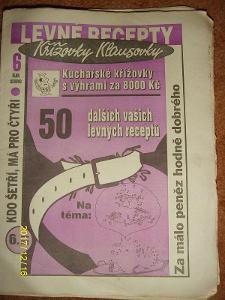 """STARÝ VÝTISK ,,LEVNÉ RECEPTY A KŘÍŽOVKY KLAUSOVKY""""číslo 6 z roku 1993"""