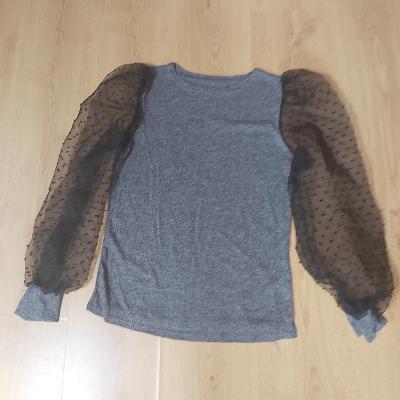 SVETR svetřík halenka šedá průhledné rukávy vel. M