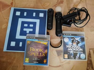 PS3 PLAYSTATION MOVE OVLADAČE + KAMERA EYETOY + WONDERBOOK + HRY
