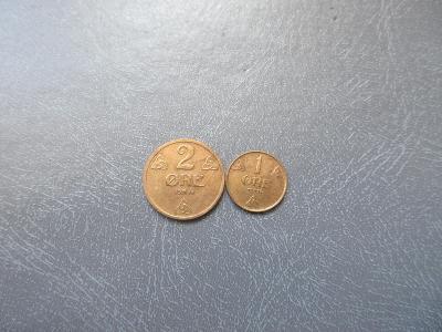 NORSKO 2MINCE 2 ORE 1933,1 ORE 1936.