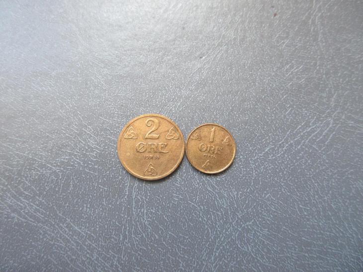 NORSKO 2MINCE 2 ORE 1933,1 ORE 1936. - Numismatika
