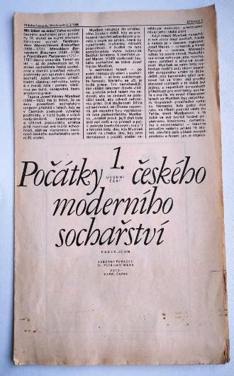 PŘÍLOHA ČASOPISU MLADÝ SVĚT – 1985 – POČÁTKY ČS. MODERNÍHO SOCHÁŘSTVÍ