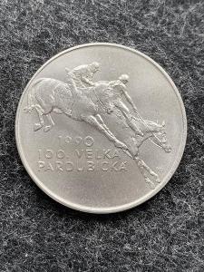 🌶 Stříbrná mince 100 Kčs 100. Velká Pardubická 1990 - Perfektní Stav
