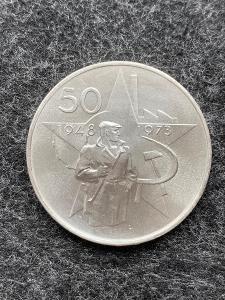 🌶 Stříbrná mince 50 Kčs Vítězného února 25. výročí 1973