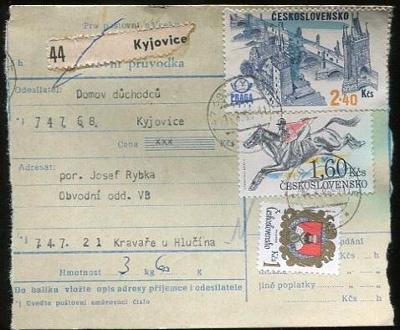 Balíková poštovní průvodka výplatné - Kyjovice