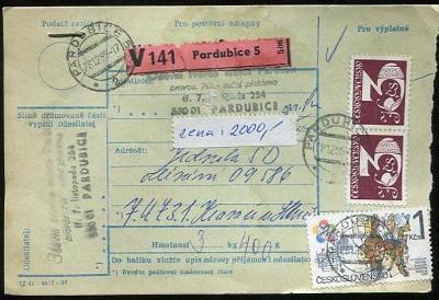 Balíková poštovní průvodka výplatné - Pardubice