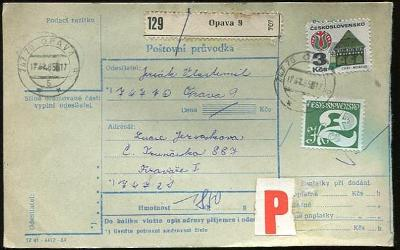 Balíková poštovní průvodka výplatné - Opava