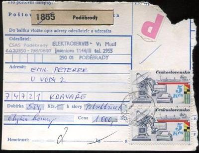 Balíková poštovní průvodka výplatné - Poděbrady