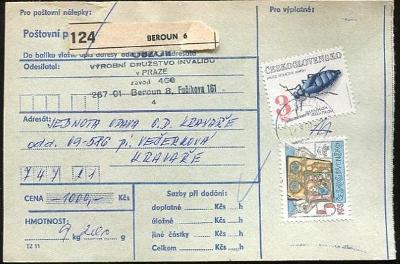 Balíková poštovní průvodka výplatné - Beroun