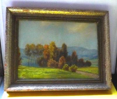 Starý obraz - krajina - obraz na kartonu - signováno