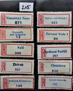 R-nálepky ČSR, 10 málo frekventovaných   kusů (205)