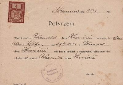 Potvrzení domovského právo_Počenice_Foltýnek Alois_Počenice_1248