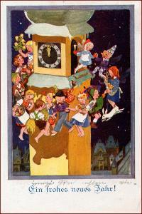 Nový rok * tanec, děti, hodiny, městský motiv, gratulační * M4017