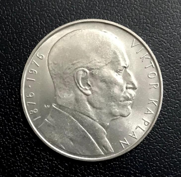 vzácná stříbrná mince 100 Kčs 1976 - V. Kaplan, Ag 15g perfektní stav! - Numismatika