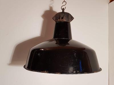 industriální  lustr, smaltované stínidlo, lampa