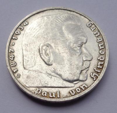 5 marka se svastikou 1937 J!!