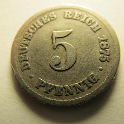 Německo, Kaiser Reich , 5 pfennig z roku 1875 B - HLEDANÁ