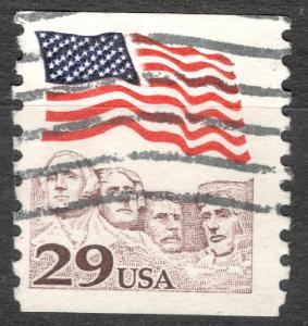 USA 1991 Mi 2123 Vlajky hora Mount Rushmore, prezidenti ve skále