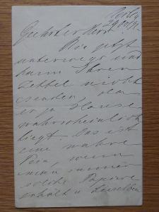 THEODOR REICHMANN 1849 1903 OPERNÍ PĚVEC DOPIS RUKOPIS