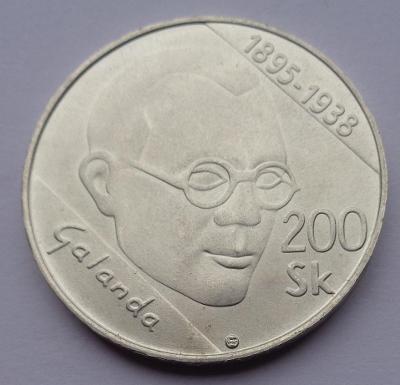 Stříbrná 200 koruna Slovensko - Galanda 1995 Ag !!
