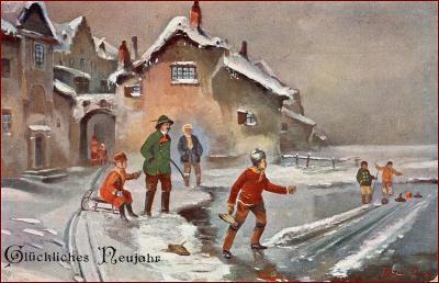 Nový rok * hra, curling, sáně, děti, lidé, městský motiv * M4267