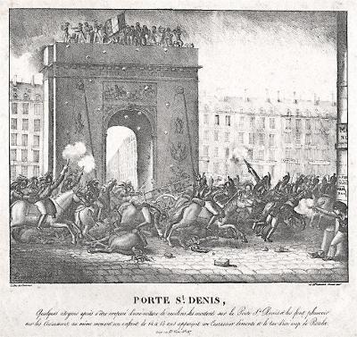 Porte St. Denis, litografie, (1830)