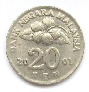 Malajsie 20 sen 2001