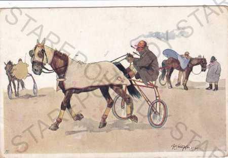 Koňské dostihy-humorně laděná, kresba - Pohlednice