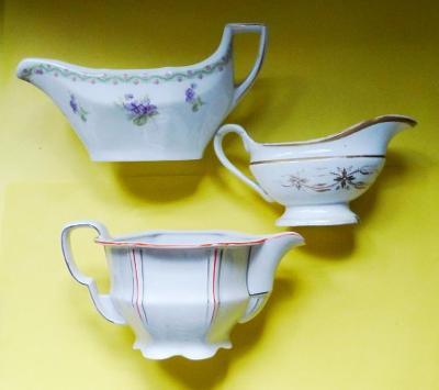 Starý porcelán - omáčník - konvolut 3ks - značený
