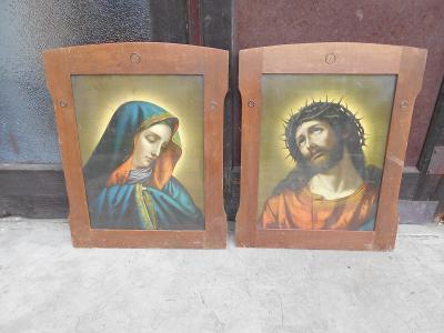 Párový - 2 x obraz ze staré chalupy - tisk - pod sklem