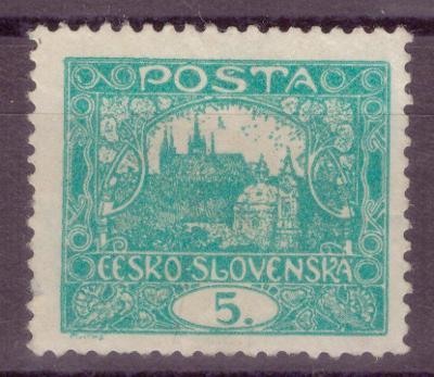 1918 (ČSR I) - Hradčany č. 4, 5h, S DESKOVOU VADOU - TEČKA (6862)