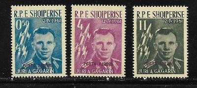 Albánie 647-9a GAGARIN 1962, červený letecký přetisk POSTA AJRORE