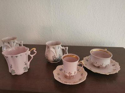 Růžový porcelán + dva další šálky