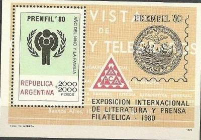 Argentina 1979 Známky aršík Mi 25 ** rodina děti filatelie literatura