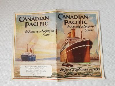Reklamní lodní brožurka Canadian Pacific 1925 Kanada Amerika parník