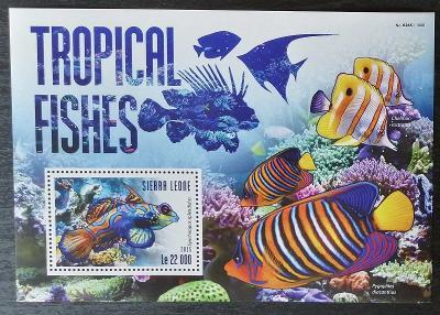 Sierra Leone 2015 Bl.800 10€ Korálové ryby oceánů